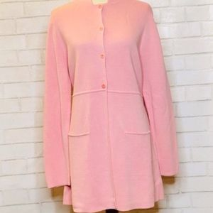 Eileen Fisher Soft Pink Long Button Down Sweater